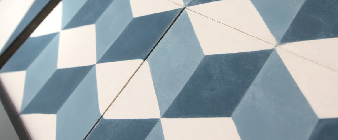 GEOMETRIC MIDNIGHT BLUE CEMENT TILES