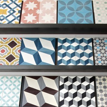 cement tiles display by range